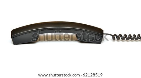 black telephone receiver isolated on white background - stock photo
