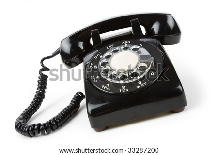Black telephone with white background