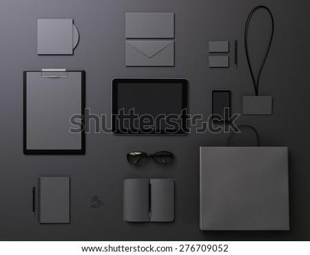 Black template for branding identity - stock photo