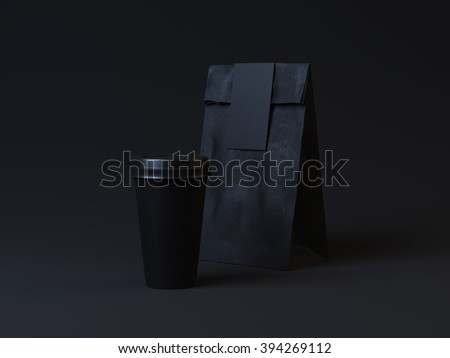Black template of cup and package on dark background. Modern minimalistic identity - stock photo