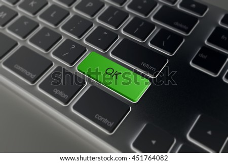 black Text ok green button 3d rendering