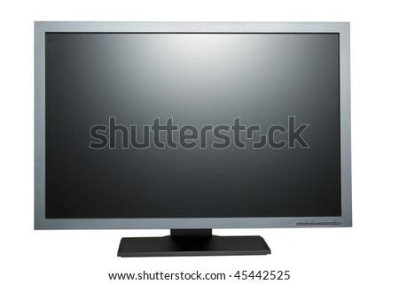 black tft flat monitor isolated on white - stock photo