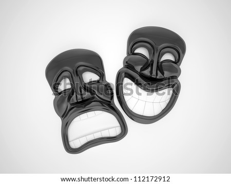 black theatrical mask with a smile - stock photo