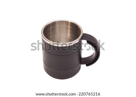 Black Thermos Travel Mug on white background  - stock photo