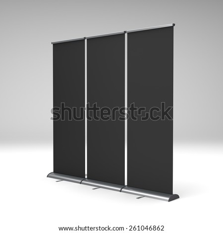 black three rollups or banners in a row - stock photo