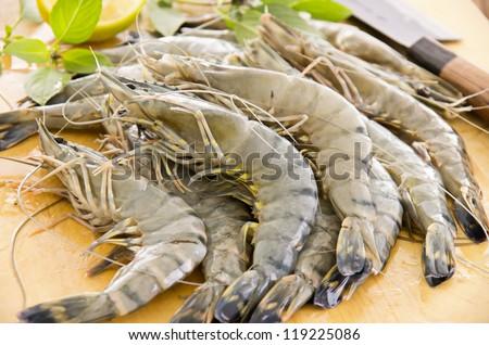 black tiger prawns - stock photo