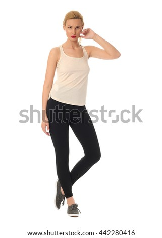 Black tights on sexy woman legs isolated on white