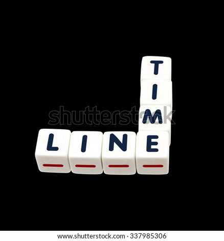 Black Timeline Crossword with red dashed line isolated on white background - stock photo