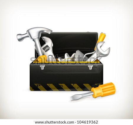 Black toolbox, bitmap copy - stock photo
