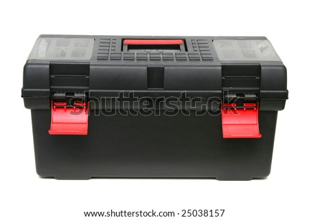 Black toolbox isolated on white.