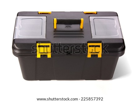 Black toolbox on white background  - stock photo
