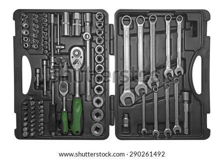 Black toolbox with different instruments isolated on white. Clipping path included. - stock photo
