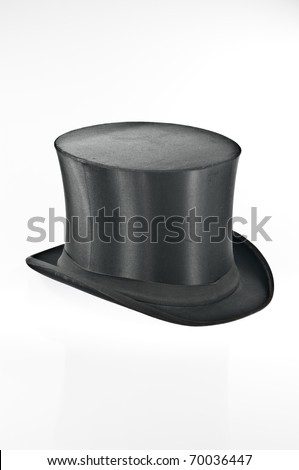 Black top hat on white background - stock photo