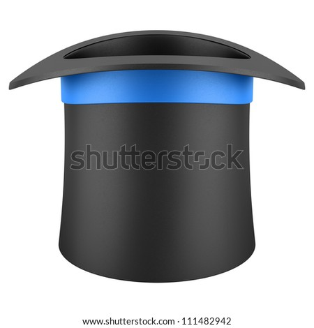 black top hat with blue strip isolated on white background