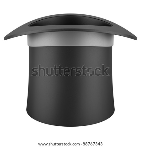 black top hat with gray strip isolated on white background - stock photo