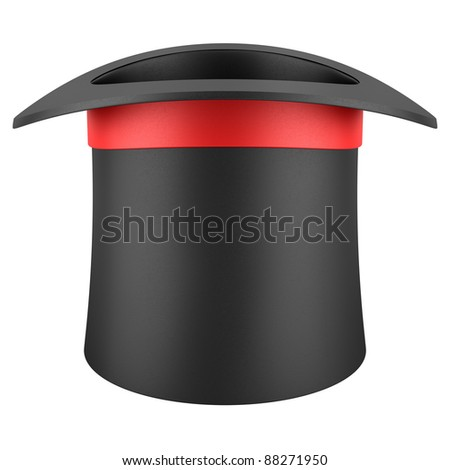 black top hat with red strip isolated on white background