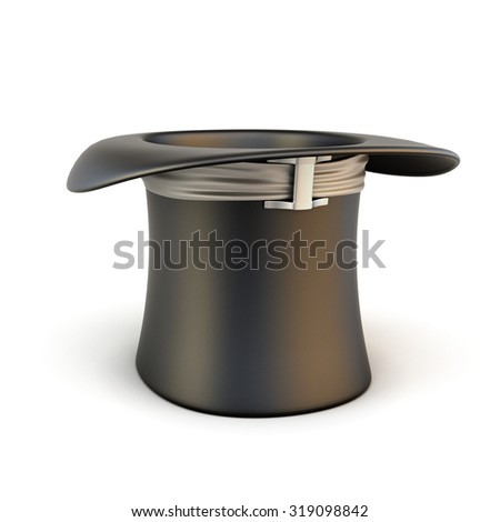 Black top hat with ribbon isolated on white background. 3d illustration.