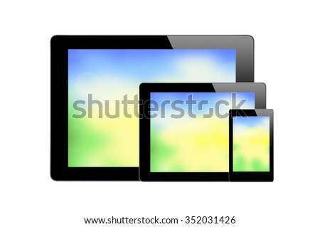 Black Touch Screen Tablets with bright screen isolated on white background