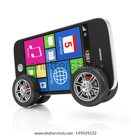 Black Touchscreen Smartphone on Wheels isolated on white background - stock photo