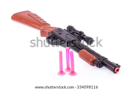 Black Toy hand guns with red tip isolated on white background - stock photo