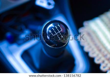 black transmission in car - stock photo