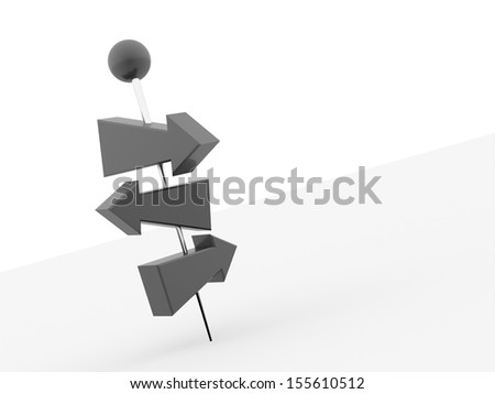 Black tree arrows pierced with push pin on white background - stock photo