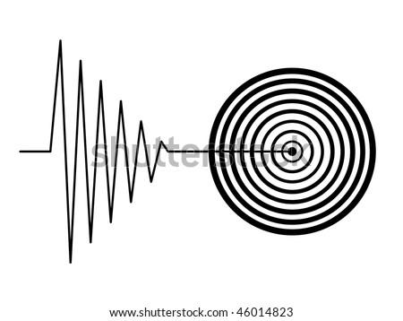 black tremor earthquake sign on white background - stock photo