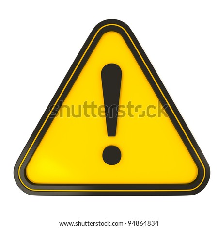 Black Triangle Warning Sign on yellow with white background - stock photo