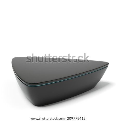 Black triangular exhibition stand - stock photo