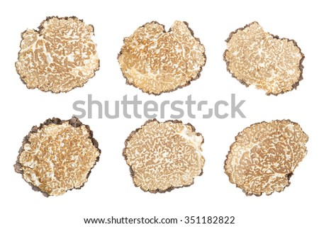 Black truffle slices collection isolated on white, clipping path included - stock photo