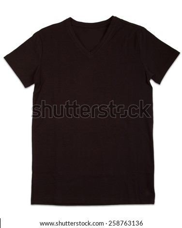 Black tshirt template isolated on white. T-shirt template ready for your own graphics