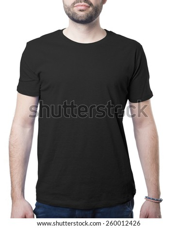 black tshirt template of man waring blank classic shirt isolated on white with clipping path for background and garment - stock photo