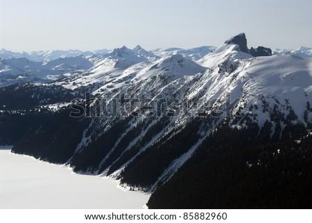 Black Tusk peak and Garibaldi Lake in Coast Mountains - stock photo