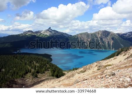 Black Tusk Summit And Garibaldi Lake (Garibaldi Provincial Park, Coast Mountains, British Columbia, Canada) - stock photo