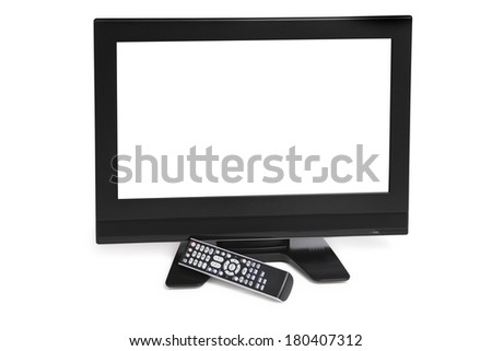 Black tv monitor with white screen on white background  - stock photo