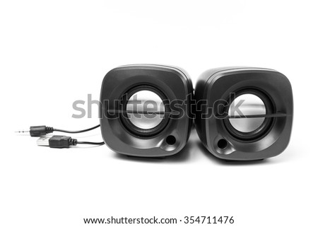 Black two computer speaker, isolated on white background. - stock photo