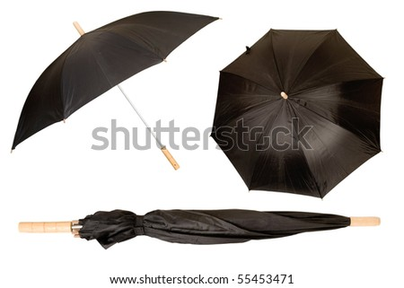 black umbrella isolated on white, protection from sun and rain - stock photo