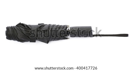 Black umbrella isolated over the white background - stock photo