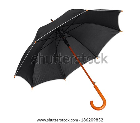 Black umbrella / studio photo of opened umbrella - isolated on white background  - stock photo