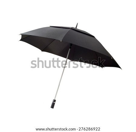 Black umbrella with clipping path - stock photo