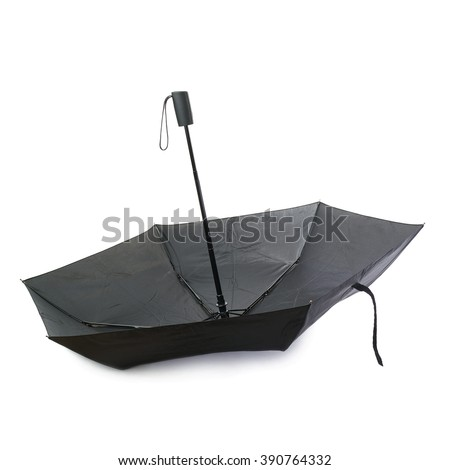 Black unfolded umbrella isolated over the white background - stock photo