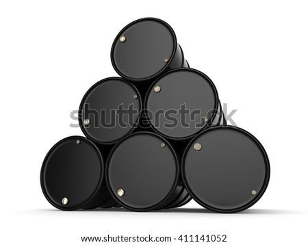 Black Untitled barrels on a white background - stock photo