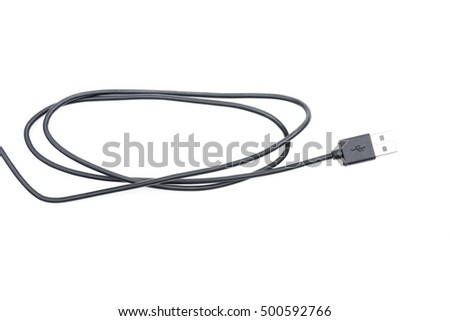 black USB cable connector isolated on white background