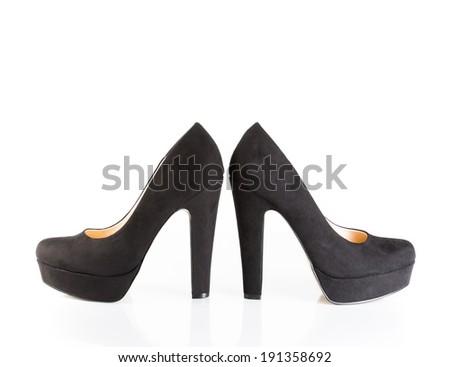 black velvet shoes isolated on white background - stock photo