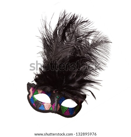 Black Venetian Mask with Black Feather Plumes Isolated on White - stock photo