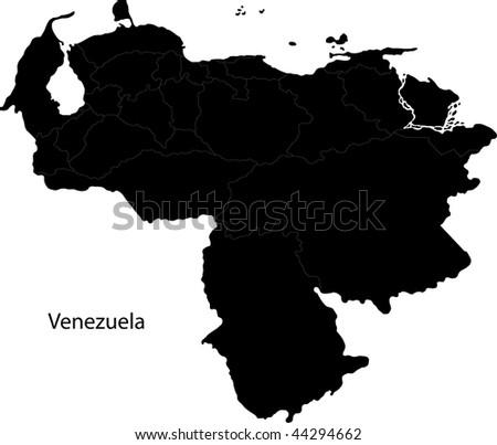 Black Venezuela map with state borders - stock photo
