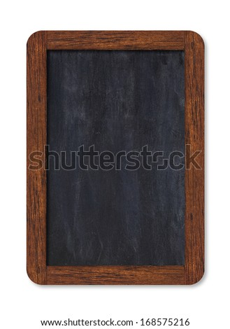 Black vertical blank chalkboard with wooden frame including clipping path - stock photo
