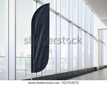 Black vertical wind banner in office interior. 3d rendering - stock photo