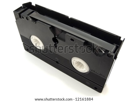Black video tape against the white background