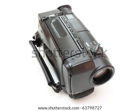 Black videocamera with buttons and switches on a white background - stock photo